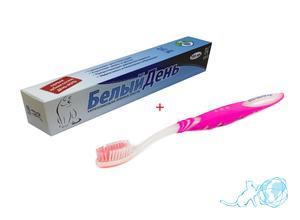 Купить набор зубная паста + зубная щетка, Белый Кот недорого