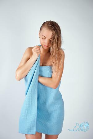 Купить полотенце Вафельное (голубое) 80*150, Белый Кот недорого